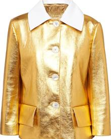 Prada - metallic short buttoned jacket - women - Viscose/Mother of Pearl/Lambskin - 40, 42 - GOLD