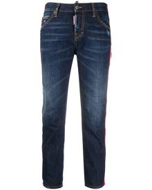 Dsquared2 - logo tape cropped jeans - women - Cotton/Polyester - 38, 40, 42, 34, 36, 44, 46 - Blue