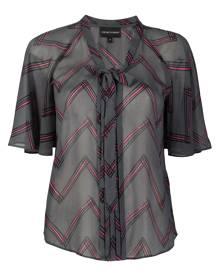 Emporio Armani tie-front zigzag blouse - Grey