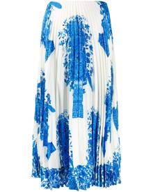 Valentino - ceramic print pleated midi skirt - women - Silk - 40, 42, 44, 38 - Blue