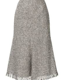 Goen.J metallic tweed midi skirt - Silver