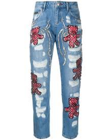 Philipp Plein - Boyfriend Teddy Bear jeans - women - Cotton/Polyester - 26, 27, 28, 29, 25 - Blue