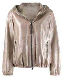 Brunello Cucinelli - hooded leather jacket - women - Silk/Acetate/Sheepskin/Eco Brass - 42 - GOLD