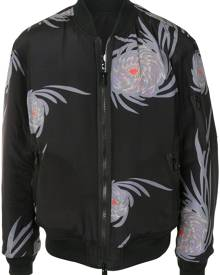 UNDERCOVER floral-print zip-up bomber jacket - Black
