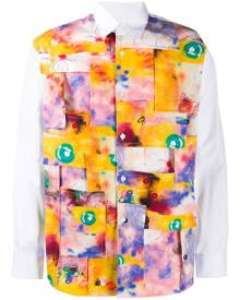 Comme Des Garçons Shirt - abstract patchwork print shirt - men - Cotton - S, M, L, XS, XL - White