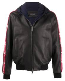 Dsquared2 - hooded layered zipped jacket - men - Cotton/Polyester/Sheepskin - 48, 50, 46, 52 - Black