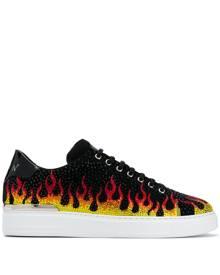 Philipp Plein crystal flame-print sneakers - Black