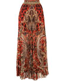 Camilla long animal print skirt - Red