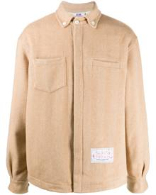 Gcds - embroidered logo shirt jacket - men - Polyamide/Polyester/Wool - M, L, S - Neutrals