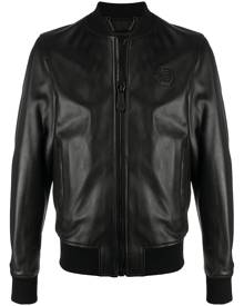 Philipp Plein leather bomber jacket - Black