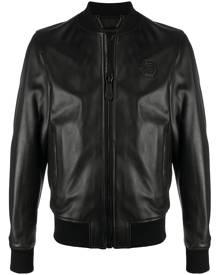 Philipp Plein - leather bomber jacket - men - Acetate/Viscose/Sheepskin - M, L, XL, XXL, XXXL - Black