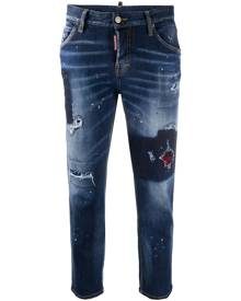 Dsquared2 - distressed-effect cropped denim jeans - women - Cotton/Polyester/Spandex/Elastane - 38, 40, 42, 44, 36, 34 - Blue
