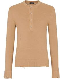 Dolce & Gabbana distressed-effect half-button jumper - Neutrals