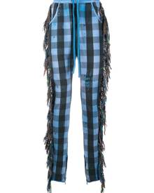 Alchemist fringe-trim checked trousers - Blue