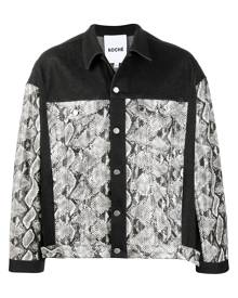 Koché snakeskin-print denim jacket - Black