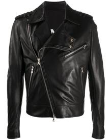Balmain silver zip-detail biker jacket - Black