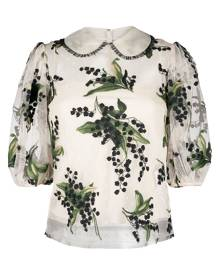 RED Valentino floral-embroidered layered blouse - Neutrals