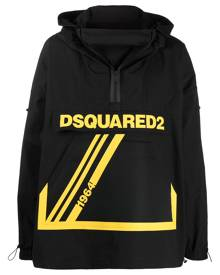 Dsquared2 logo-print oversized windbreaker jacket - Black
