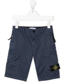 Stone Island Junior logo patch cargo shorts - Blue