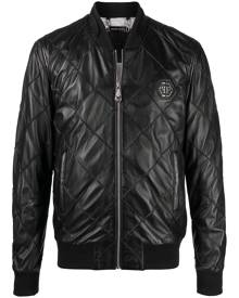 Philipp Plein quilted leather bomber jacket - Black
