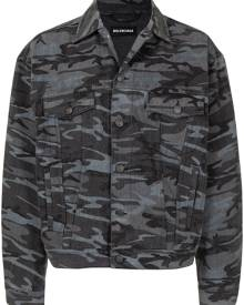 Balenciaga camouflage-print denim jacket - Grey