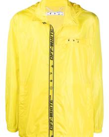 Off-White logo-print zip-up windbreaker - Yellow