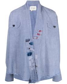 Greg Lauren raw-edge denim jacket - Blue