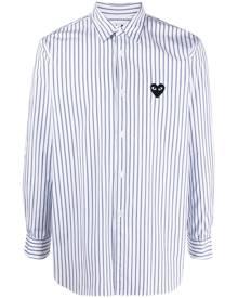 Comme Des Garçons Play pinstripe heart-embroidery shirt - Blue
