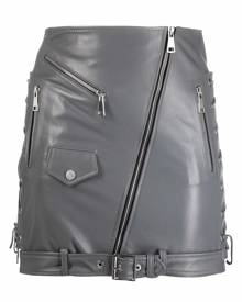 Manokhi biker-style leather fitted skirt - Grey