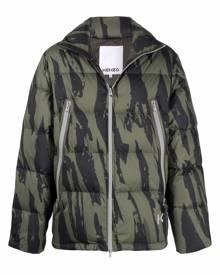 Kenzo Pleat Camo-print puffer jacket - Green