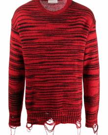 Laneus marl-knit distressed-effect jumper - Red