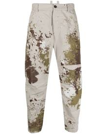 Dsquared2 paint-effect tapered trousers - Neutrals