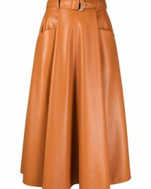 MSGM belted pleated midi skirt - Brown