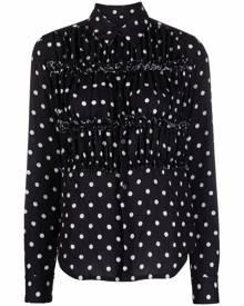 Comme Des Garçons Comme Des Garçons polka-dot ruched shirt - Black
