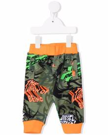 Diesel Kids camouflage-print cotton track trousers - Green
