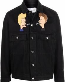 Etudes graphic print denim jacket - Black