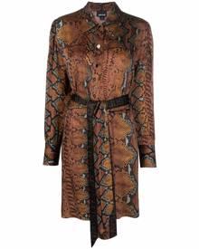 Just Cavalli snake-pattern logo belt dress - Brown