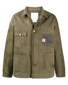 Readymade distressed button-up shirt jacket - Green