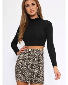ISAWITFIRST.com Black Ruffle Neck Ribbed Crop Top - 6 / BLACK