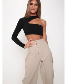 ISAWITFIRST.com Black One Sleeve Cut Out Crop Top - 6 / BLACK