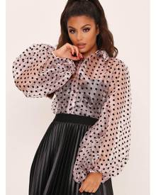 ISAWITFIRST.com Pale Pink Puff Sleeve Polka Dot Shirt - XS / PINK