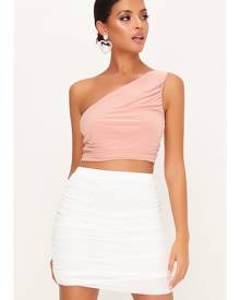 ISAWITFIRST.com Blush Pink Double Layer Slinky Ruched One Shoulder Crop Top - 4 / PINK