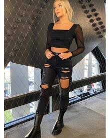ISAWITFIRST.com Black Mesh Ruched Front Long Sleeve Crop Top - 4 / BLACK