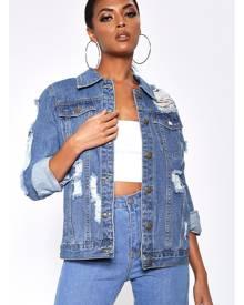 ISAWITFIRST.com Mid Wash Ripped Oversized Denim Jacket - 6 / BLUE
