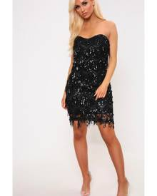 ISAWITFIRST.com Black Sequin Tassle Bandeau Prom Dress - 6 / BLACK