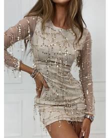 ISAWITFIRST.com Gold Tassel Sequin Open Back Dress - 6 / METALLIC