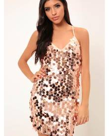 ISAWITFIRST.com Rose Gold Giant Sequin Strappy Dress - 6 / RED