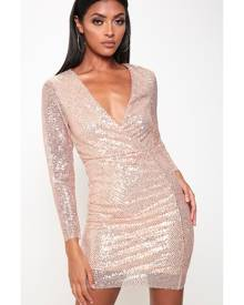 ISAWITFIRST.com Rose Gold Sequin Long Sleeve Bodycon Prom Dress - XS / RED