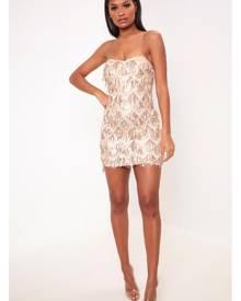 ISAWITFIRST.com Rose Gold Sequin Tassle Bandeau Mini Prom Dress - 6 / RED