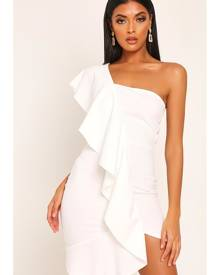 ISAWITFIRST.com White Ruffle One Shoulder Mini Dress - 6 / WHITE